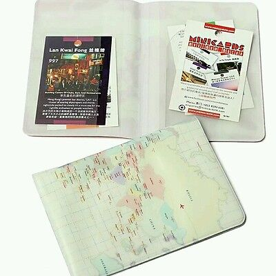 Novelty Plastic World Map Passport Case Money Credit Card Cover Holder Travel (Novelty Passport)