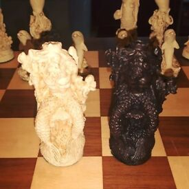 Sea Life Chess Set W/Board - Handcrafted Collectable