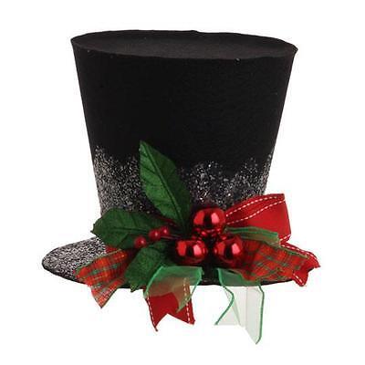 "NEW RAZ 9"" Holly Plaid Black Top Hat Snowman Christmas Decoration 3119040"