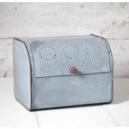 Rustic Metal Bread Box in Weathered Zinc Kitchen Farmhouse Bread Bin Bakery Box