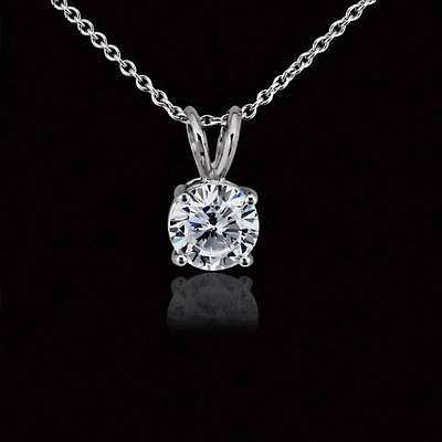 14k Wg Diamond Solitaire - 1 Carat Round Solitaire Pendant Necklace Cable Chain Solid 14k Real White Gold