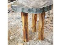 Handmade log stool