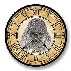 Poodle Wall CLOCK - Color Pencil Sketch - Old World Look_FT