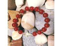 Handmade Rosary Bracelet - Carnelion and Swarovski Crystal