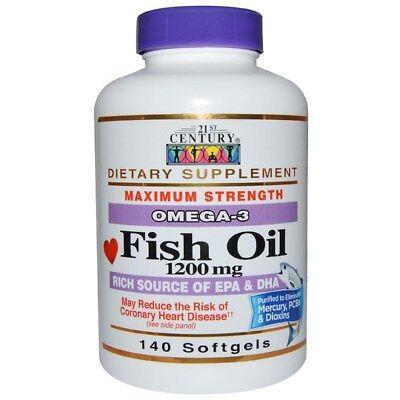 Fish Oil  Omega 3  Maximum Strength 21St Century Health Care 140Ct Bottle