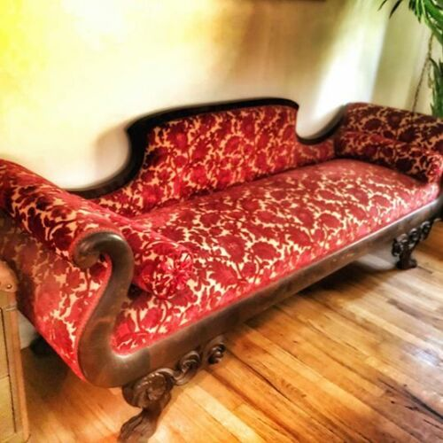Antique 1800s American Empire Mahogany Clawfoot Settee Sofa Chase