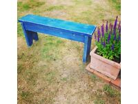 Handcrafted Blue Wooden Distressed Bench