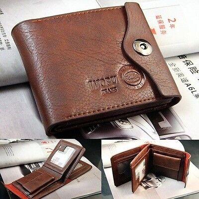 Bifold Wallet Mens Genuine Leather Brown Credit Id Card Holder Slim Purse Gift