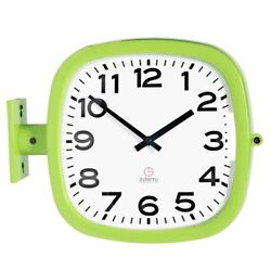 Modern Square Double Sided Wall Clock Design Station Clock Home Decor - P205GRA