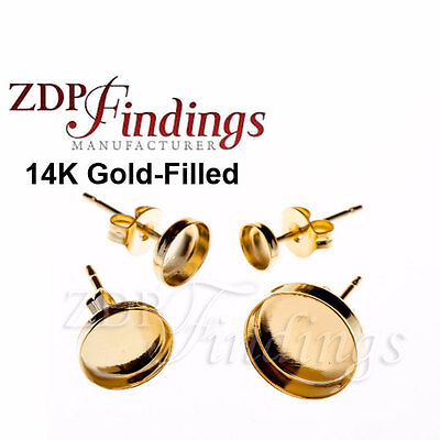 Earring Jewelry Findings- 6mm bezel on Post Gold-Filled