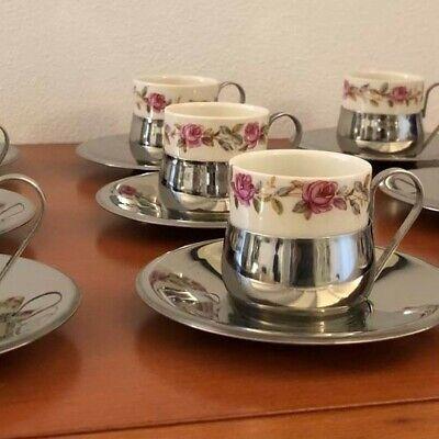 9 tazzine da caffè porcellana e acciaio vintage anni '70 - coffee set
