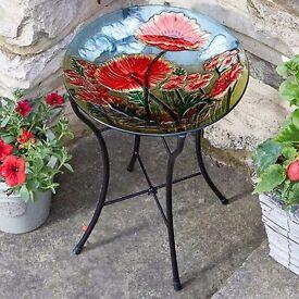 Poppy Hand Painted Glass Birdbath - Brand New in Box