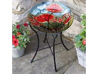 Poppy Hand Painted Glass Birdbath - Brand New in Box