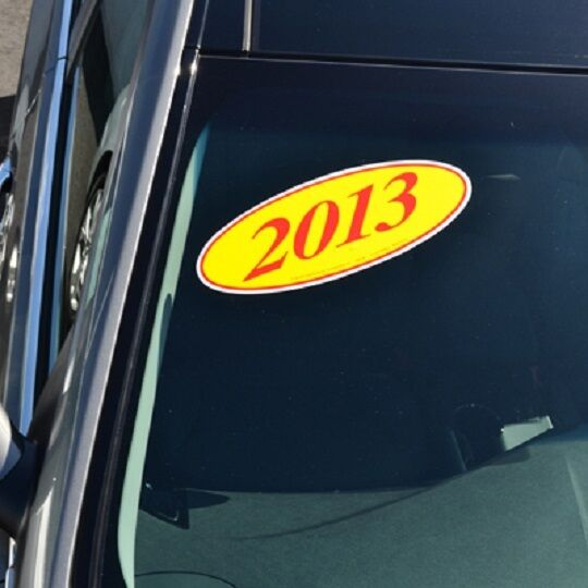 Car Dealer Window Oval Model Year Stickers, 4 Digit, Red and Yellow