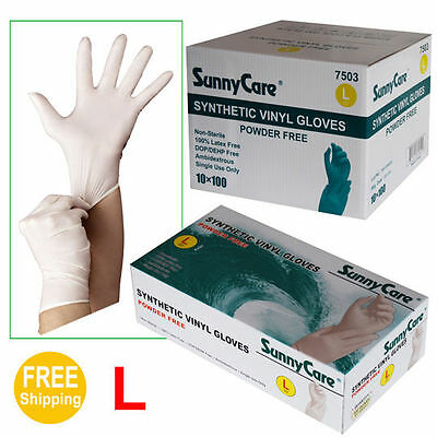 SunnyCare 1000 Synthetic Vinyl Gloves Powder Free (Non Latex Nitrile Exam) Large