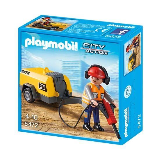 BNIB Playmobil 5472 CONSTRUCTION WORK WITH JACKHAMMER Construction series