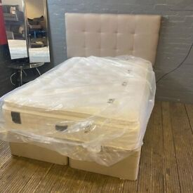 DOUBLE OTTOMAN BED BASE & HEADBOARD WITH BESPOKE STAPLES PURE SERENITY MATTRESS HAND MADE