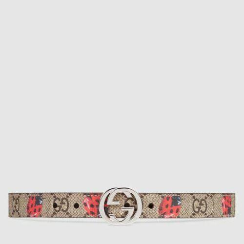 NWT NEW Gucci girls boys GG Supreme printed buckle belt S M  258395