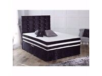 ◄◄One-Year-Guarantee►►Brand New Double / King Crushed Velvet Divan Bed w 1000 Pocket Sprung Mattress