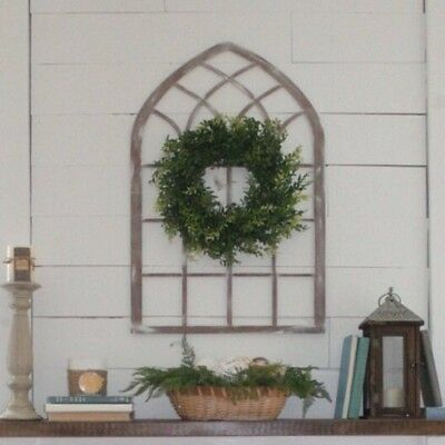Farmhouse window  wall decor Cathedral style home accent wood  32 inch tall