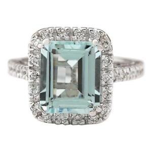 BEAUTIFUL 4CT Aquamarine and Diamond Ring Solid 18k White Gold
