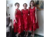 Beautiful Floaty Red Chiffon Bridesmaids/Flower Girls Dresses with matching Bolero Jackets