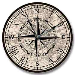 10.5 Compass Rose Old Map Pattern Wall CLOCK - Beachy Antique Decor - 7131_FT