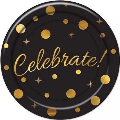 Celebrate Black and Gold 7 Inch Paper Plates 8 Pack Red Carpet Awards New Years - Paper Plate Awards