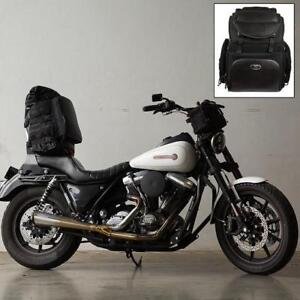 NEW MILWAUKEE LARGE SISSY BAR BAG SH689 211229088 BACK PACK STRAPS BLACK LARGE NYLON