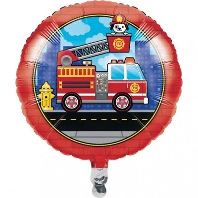 Flaming Fire Truck Foil Balloon 18 Inch Firefighter Birthday Party Decoration - Fireman Balloons