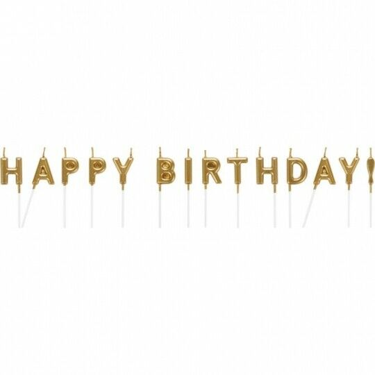 """Gold Metallic Pick Happy Birthday Candles 2.6"""" Tableware Decorations Supplies"""