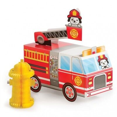 Flaming Fire Truck 3-D Centerpiece w/ Fire Hydrant 4