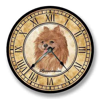 Pomeranian Wall CLOCK - Color Pencil Sketch - Old World Look - 8002_FTLLC (Pomeranian Wall Clock)