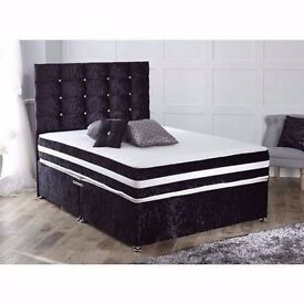 SILVER / CREAM CRUSHED VELVET BED WITH 11 INCH SUPER ORTHOPEDIC MATTRESS £169 FREE SAME DAY DELIVERY