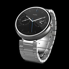 Moto 360 Smart Watch - Silver Metal Strap