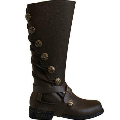 Men's Aris Archer Brown Leather Lace-Up Knee Boots- Renaissance Steampunk Pirate](Steampunk For Men)