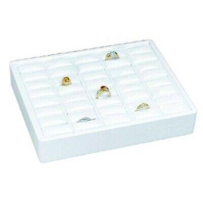 White Stackable 20 Slot Ring Tray Jewelry Store Display Pawn Shop