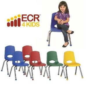 "6 NEW* ECR4KIDS SCHOOL STACK CHAIRS ELR-15112-AS 188905735 ASSORTED COLOURS - 15.5"" W x 14.75"" D x 22.5"" H"
