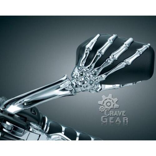 Details about Chrome Motorcycle 3D Skull Claw Black Skeleton Rear View  Mirrors 8mm 10mm Pair