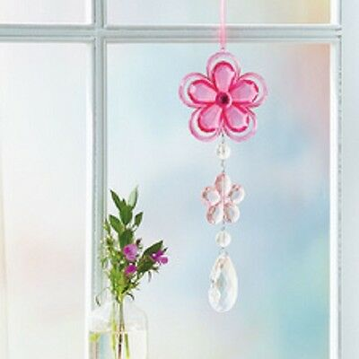 "Pink Faceted Floral Suncatcher 9-3/4"" Long COLLECTOR New N Box W/ Hanging Ribbon"