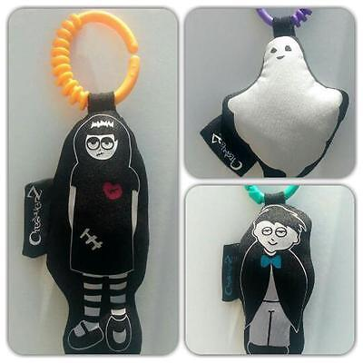 Handmade cool black and white creatures dolls for baby strol
