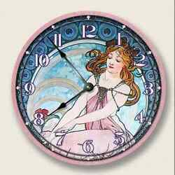 10.5 LADY in PINK wall clock - Art Nouveau Vintage Decor Alponse Mucha - 7181