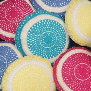 Crocheted Cushions - Yellow, Blue or Pink available - Brand New South Coogee Eastern Suburbs Preview
