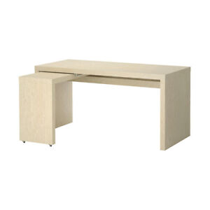 MALM desk with pull-out desk