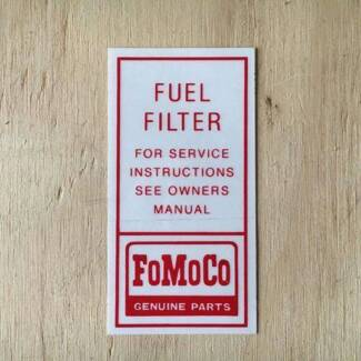 fuel filter decal to suit******1965-1966 Mustangs