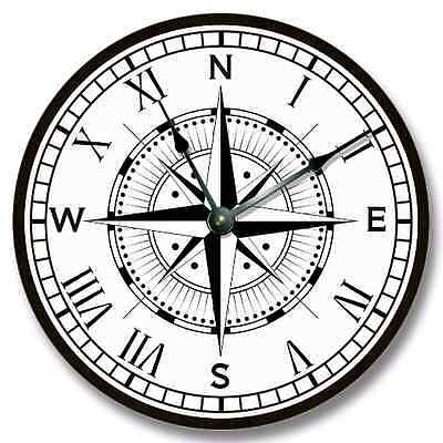 Compass Rose Patterns - Compass Rose Pattern Wall CLOCK - Beachy and Nautical Home Decor - 7130_FTLLC