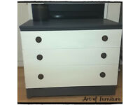 Chest Of 3 Drawers Hand Painted in Grey & Old White Chalk Paint.