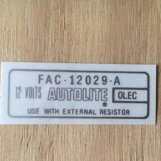 Autolite coil decal  suit******1966******1968******1970 Mustang