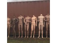 Headless Flesh toned mannequins recycled stored outside shows signs of wear and tear