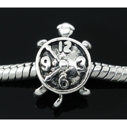 Wholesale Lot 25 Tibetan Silver Figural Clock Turtle European Spacer Beads